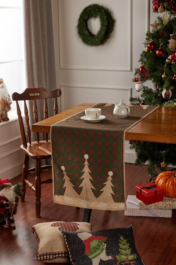 Christmas Pine Tree Pattern Linen Runner