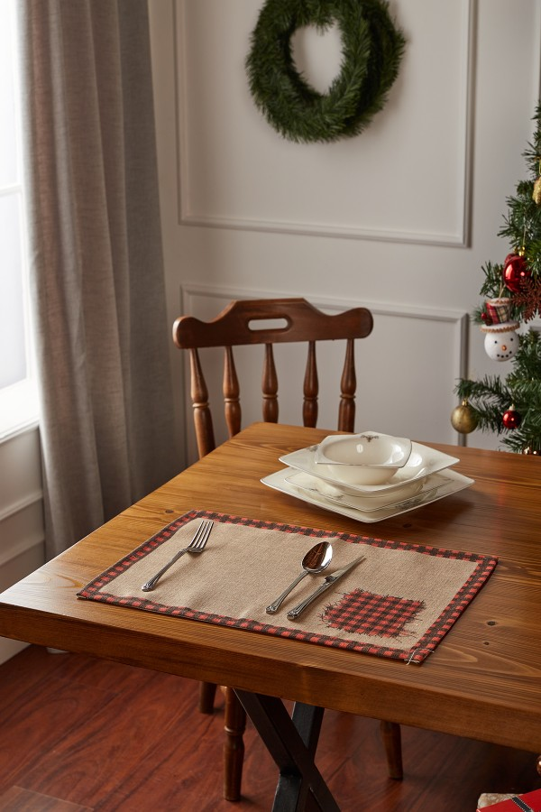 Christmas Patterned Linen Placemat Set of 2