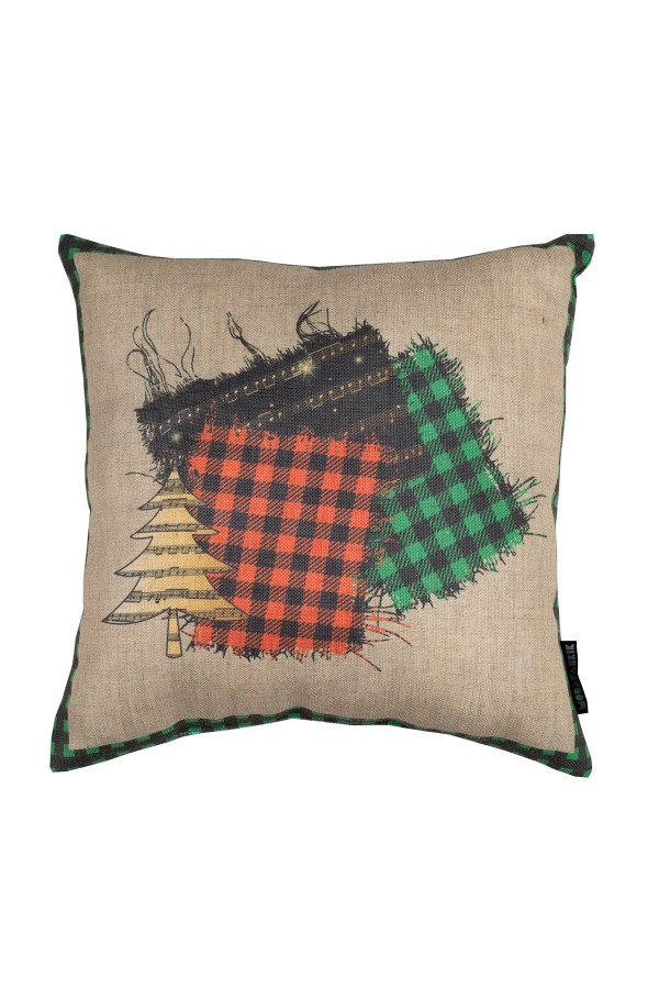 New Year's Digital Printed Linen Decorative Pillow