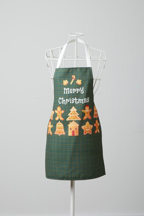 Kurabiye Desenli Yeşil Mutfak Önlüğü