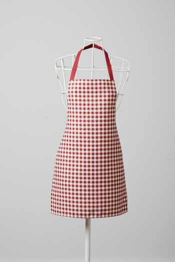 White Checkered Red Kitchen Apron