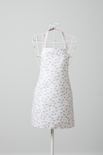 Butterfly Patterned White Kitchen Apron
