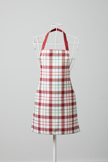 Red Green Checkered White Kitchen Apron