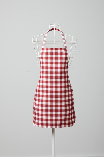Red Checkered White Kitchen Apron