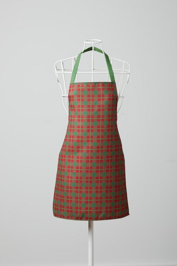 Kırmızı Kareli Yeşil Mutfak Önlüğü