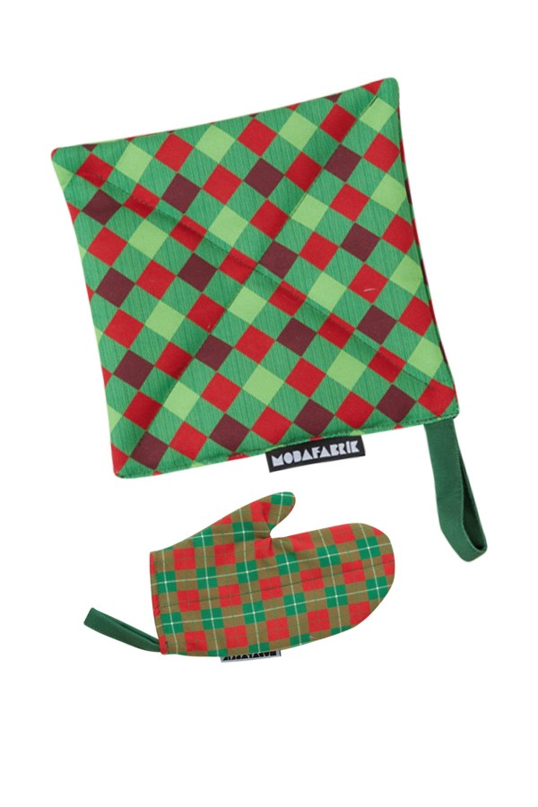 Red Green Checkered Handle And Glove Set