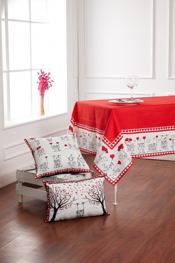 Valentine Stickman Red Tablecloth 140x240