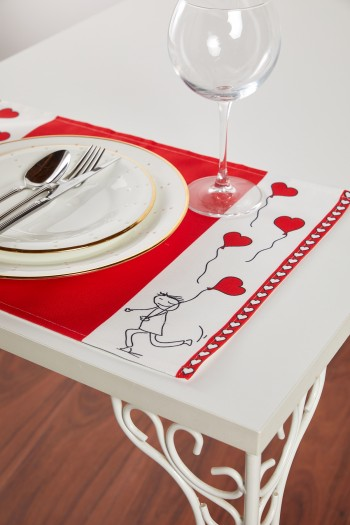 Valentine Stickman Red Placemat Set of 2