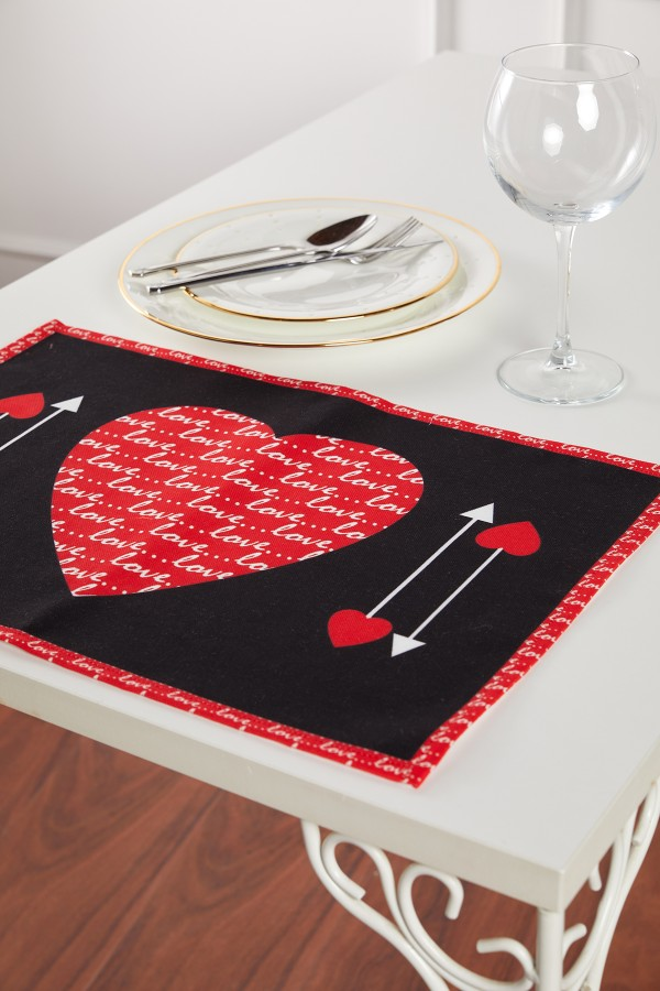 Heart Pattern Black Love Placemat Set of 2