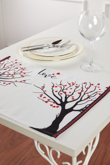 Heart Tree Patterned White Placemat Set of 2