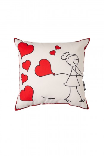 Valentine's Day Garbage Woman White Pillow
