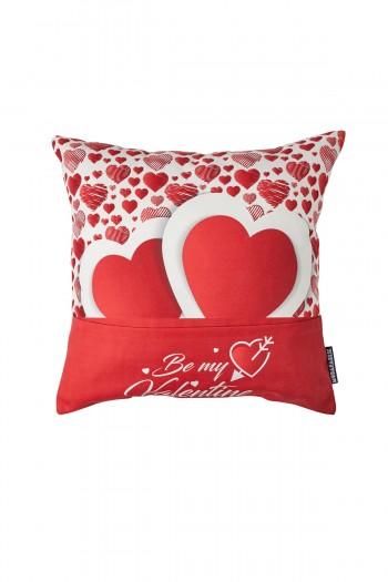Sevgililer Günü Çift Kalpli Kırmızı Yastık