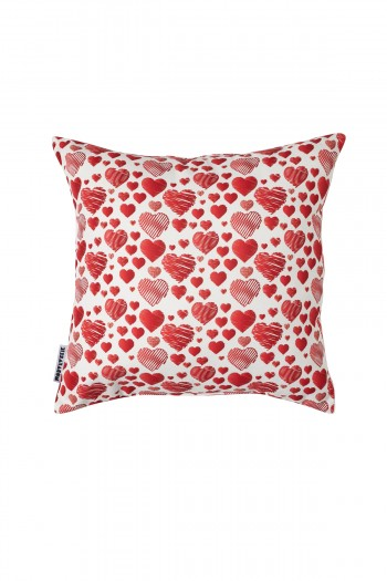 Valentine's Day Red Heart Patterned White Pillow