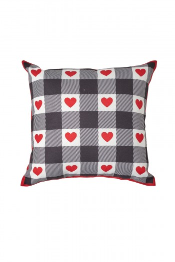 Valentine's Day Heart Pattern Black and White Pillow