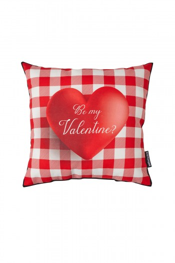 Valentine's Day Heart Patterned Red and White Pillow