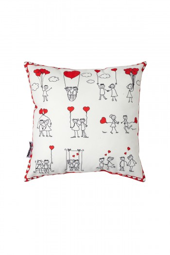 Valentine Patterned White Pillow
