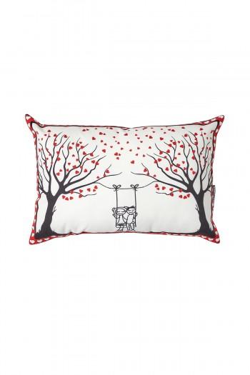 Heart Tree Pattern Valentine's Day White Pillow
