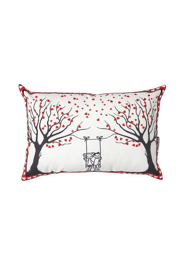 Kalpli Ağaç Desenli Sevgililer Günü Beyaz Yastık