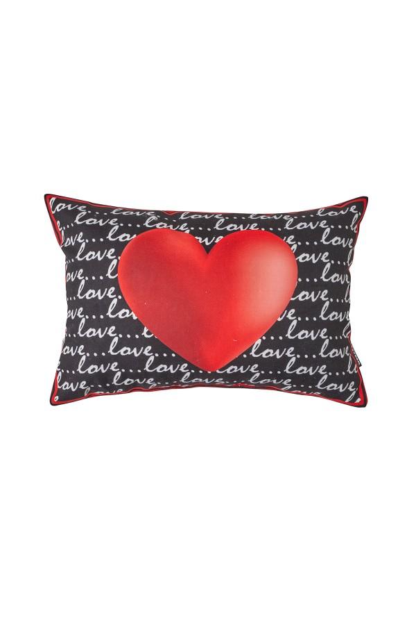 Valentine's Day Heart Pattern Black Love Pillow