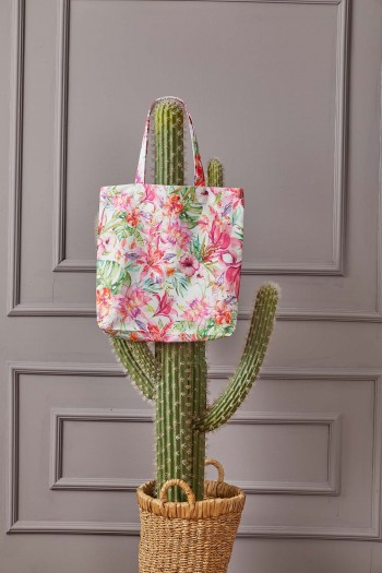 Flower Patterned Beach Bag