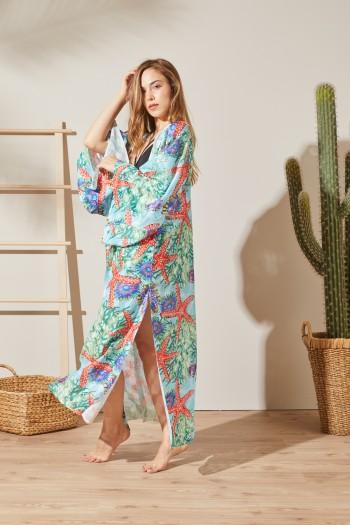 Marine Baskılı Kimono