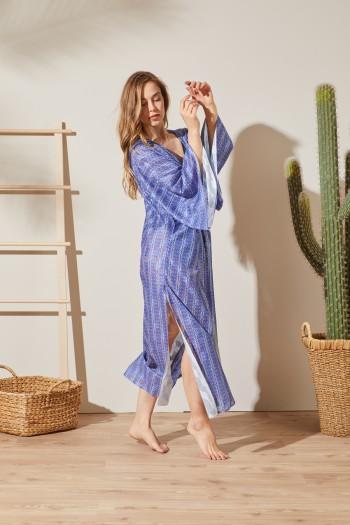 Dijital Baskılı Mavi Kimono