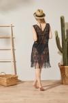 Lamizon Siyah Plaj Elbisesi