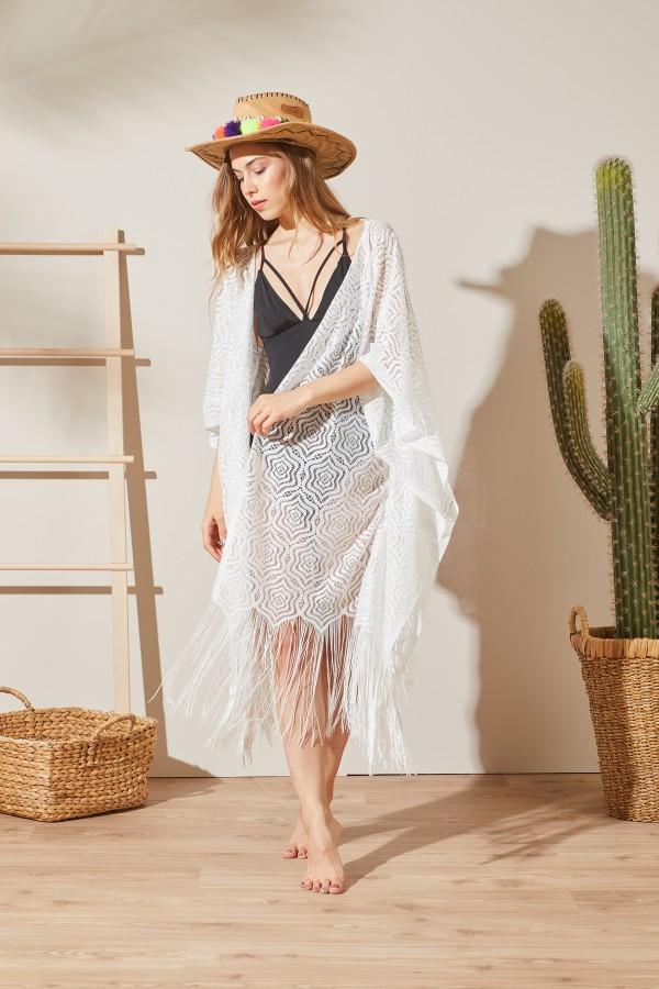 Kimono Ekru Plaj Elbisesi