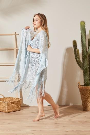 Kimono Buz Mavisi Plaj Elbisesi