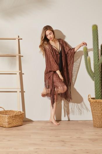 Kimono Kahverengi Plaj Elbisesi